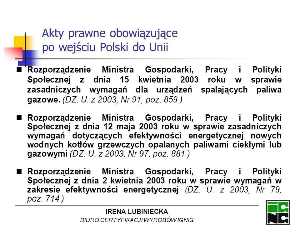 IRENA LUBINIECKA BIURO CERTYFIKACJI WYROBÓW IGNiG Akty prawne obowiązujące po wejściu Polski do Unii Rozporządzenie Ministra Gospodarki, Pracy i Polit
