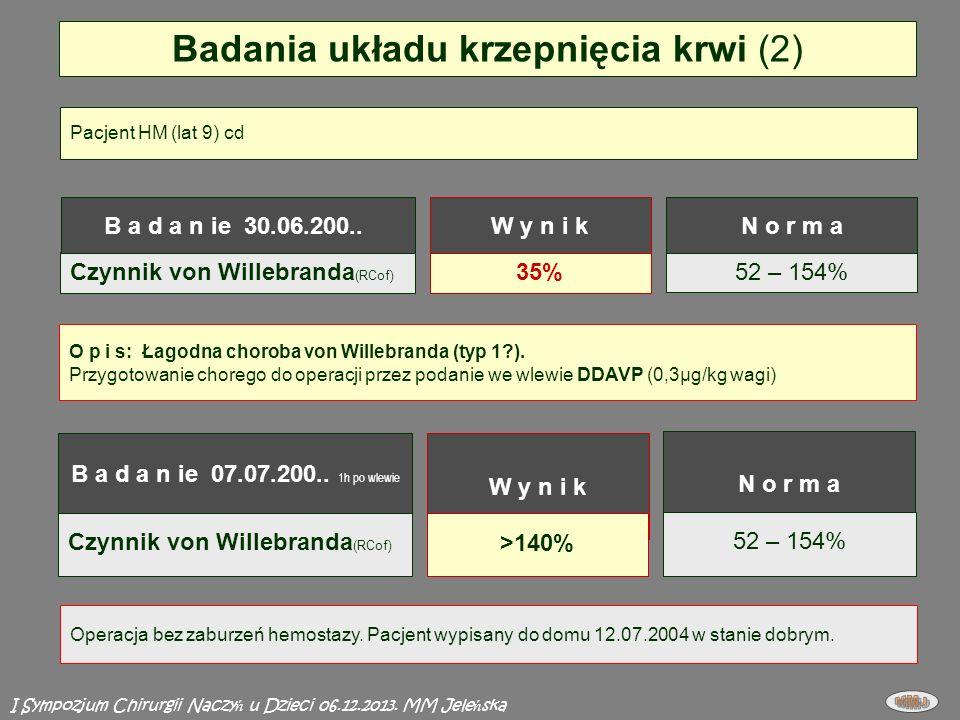 Czynnik von Willebranda (RCof) Badania układu krzepnięcia krwi (2) 52 – 154% 35% O p i s: Łagodna choroba von Willebranda (typ 1?).