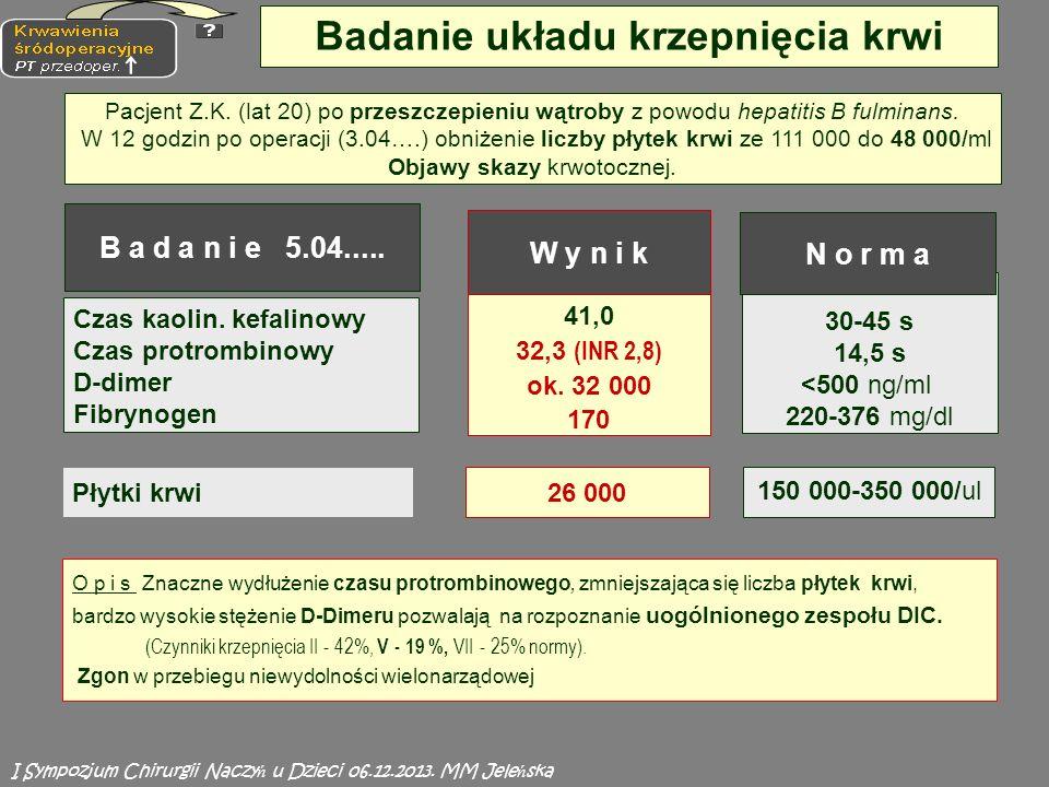 41,0 32,3 (INR 2,8) ok.32 000 170 30-45 s 14,5 s <500 ng/ml 220-376 mg/dl Czas kaolin.