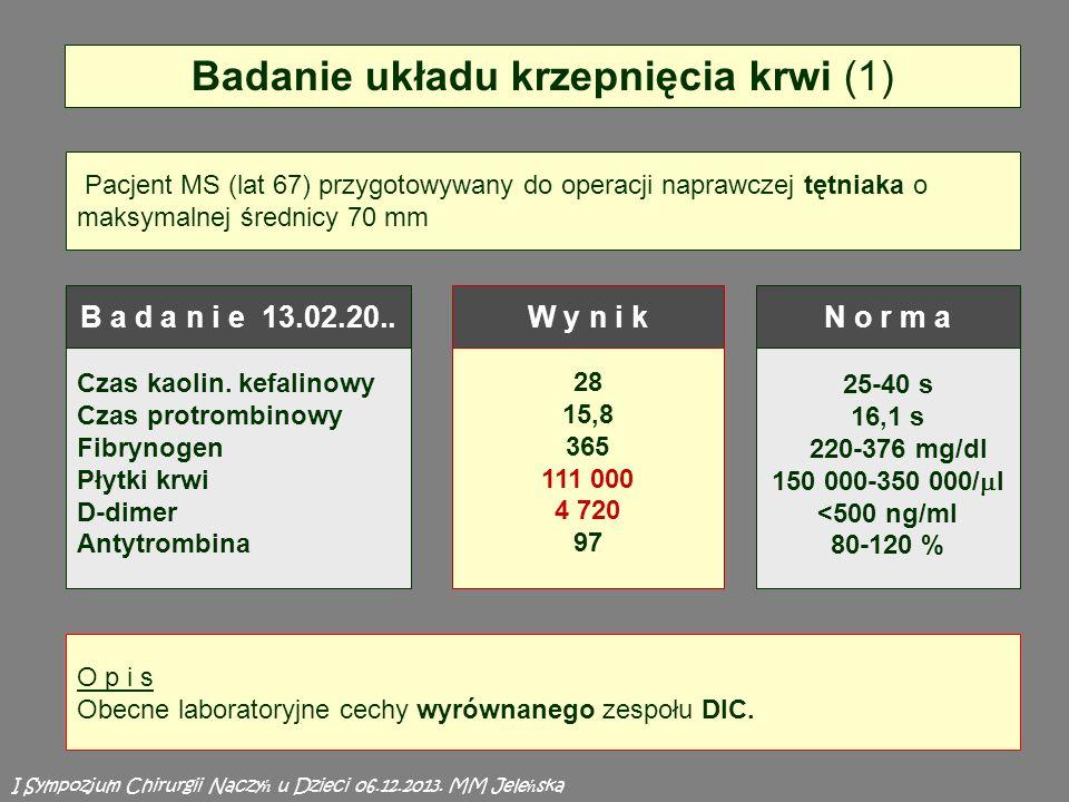 28 15,8 365 111 000 4 720 97 25-40 s 16,1 s 220-376 mg/dl 150 000-350 000/ l <500 ng/ml 80-120 % Badanie układu krzepnięcia krwi (1) Czas kaolin.