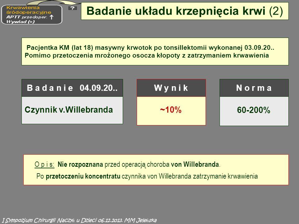 ~10% 60-200% Czynnik v.Willebranda O p i s: Nie rozpoznana przed operacją choroba von Willebranda.