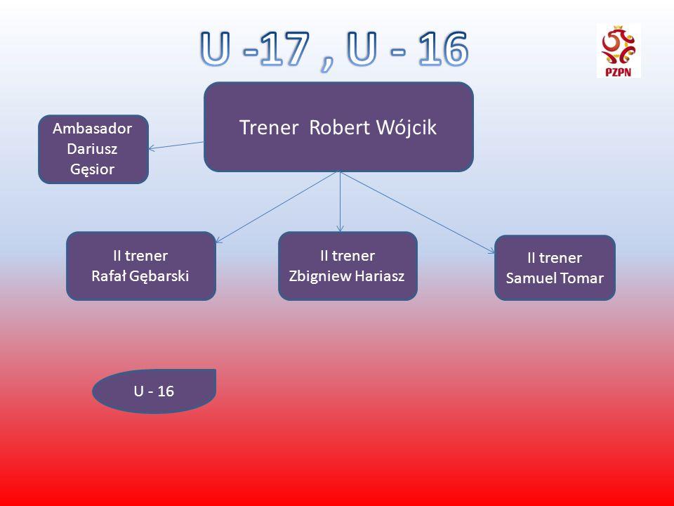 Trener Robert Wójcik II trener Rafał Gębarski II trener Zbigniew Hariasz II trener Samuel Tomar U - 16 Ambasador Dariusz Gęsior