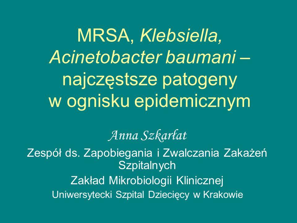 MRSA, Klebsiella, Acinetobacter baumani – najczęstsze patogeny w ognisku epidemicznym Anna Szkarłat Zespół ds.