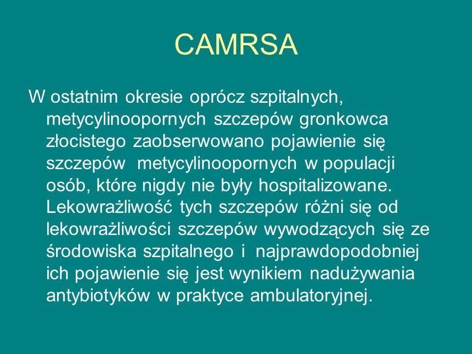 CAMRSA W ostatnim okresie oprócz szpitalnych, metycylinoopornych szczepów gronkowca złocistego zaobserwowano pojawienie się szczepów metycylinoopornych w populacji osób, które nigdy nie były hospitalizowane.