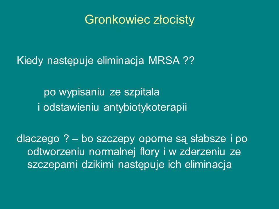 Gronkowiec złocisty Kiedy następuje eliminacja MRSA ?.