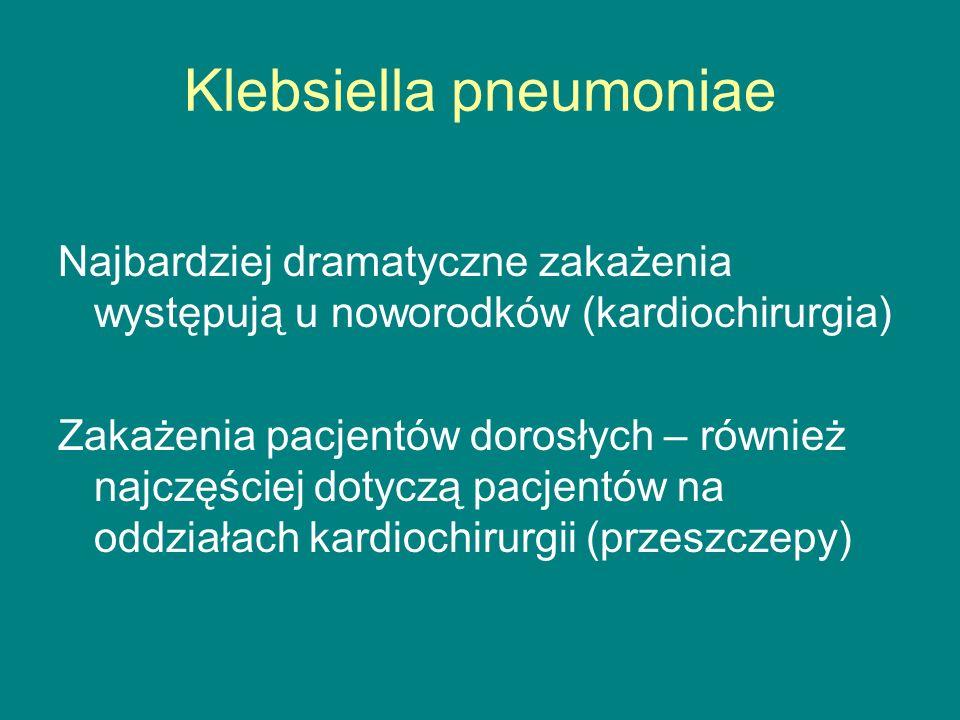 Klebsiella pneumoniae Najbardziej dramatyczne zakażenia występują u noworodków (kardiochirurgia) Zakażenia pacjentów dorosłych – również najczęściej dotyczą pacjentów na oddziałach kardiochirurgii (przeszczepy)