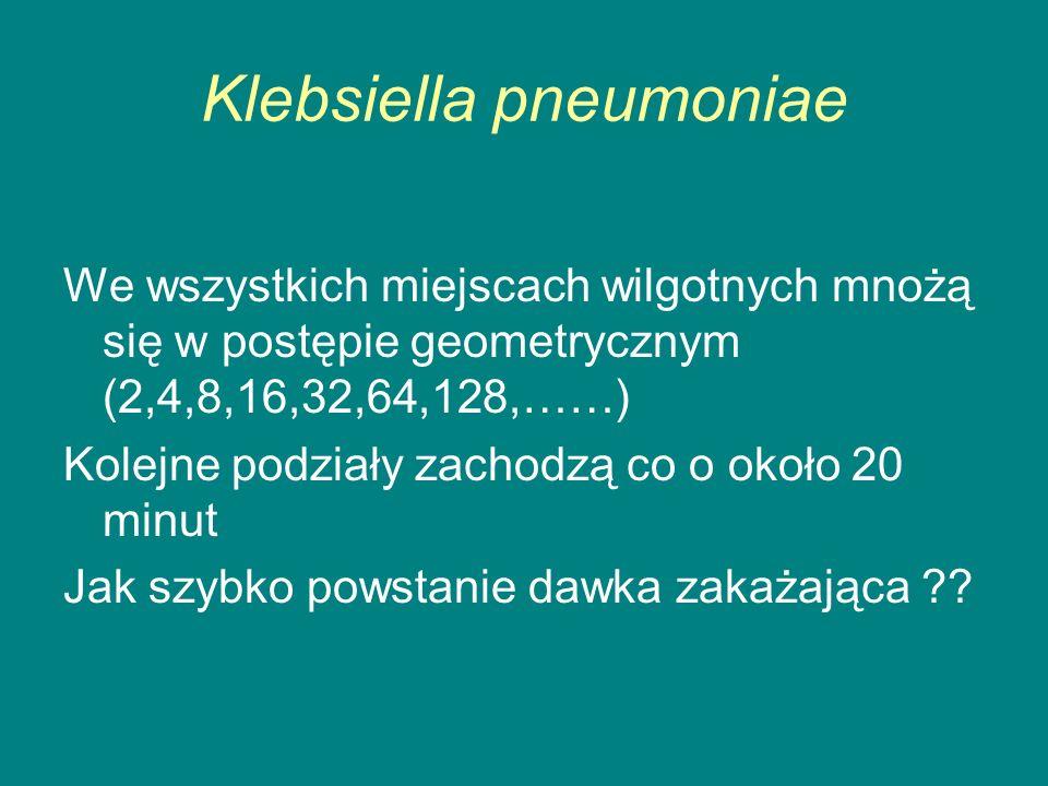 Klebsiella pneumoniae We wszystkich miejscach wilgotnych mnożą się w postępie geometrycznym (2,4,8,16,32,64,128,……) Kolejne podziały zachodzą co o około 20 minut Jak szybko powstanie dawka zakażająca ??