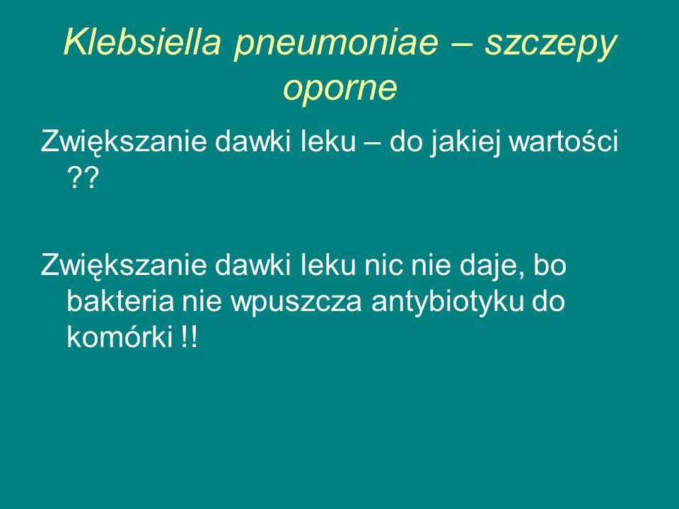 Klebsiella pneumoniae – szczepy oporne Zwiększanie dawki leku – do jakiej wartości ?.