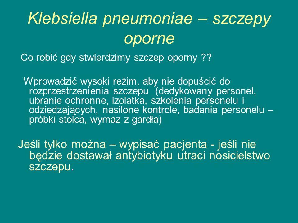 Klebsiella pneumoniae – szczepy oporne Co robić gdy stwierdzimy szczep oporny ?.
