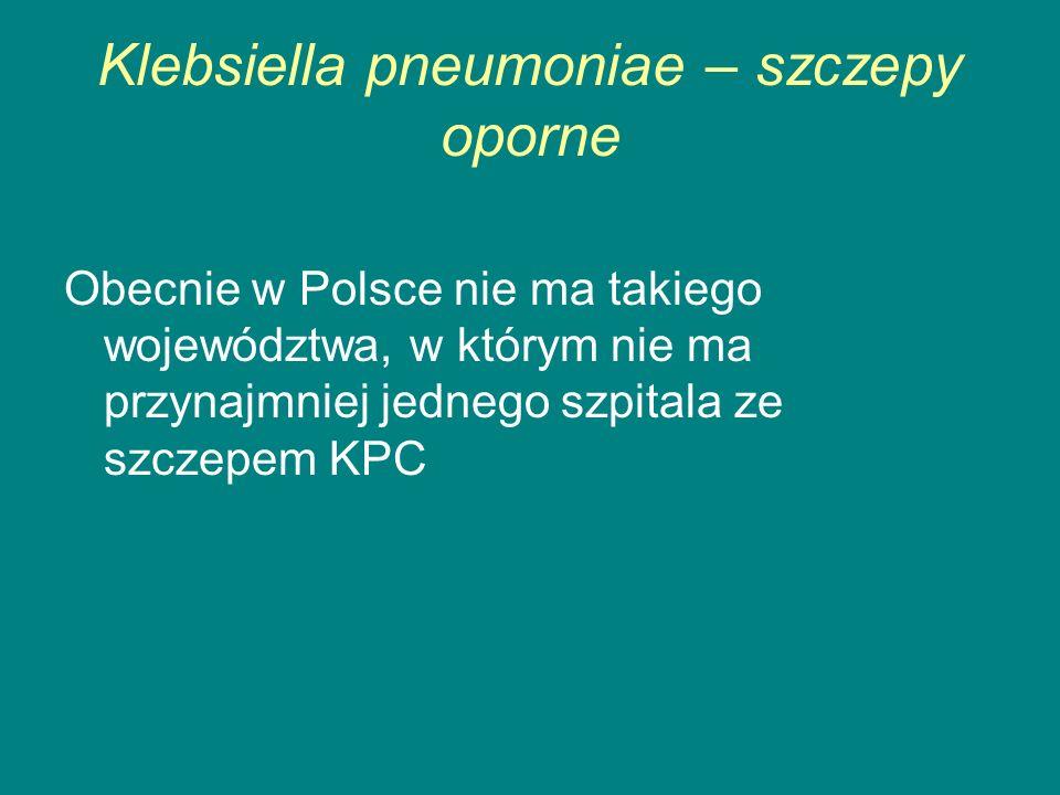Klebsiella pneumoniae – szczepy oporne Obecnie w Polsce nie ma takiego województwa, w którym nie ma przynajmniej jednego szpitala ze szczepem KPC