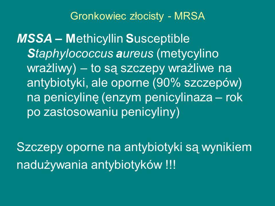 Gronkowiec złocisty - MRSA MSSA – Methicyllin Susceptible Staphylococcus aureus (metycylino wrażliwy) – to są szczepy wrażliwe na antybiotyki, ale oporne (90% szczepów) na penicylinę (enzym penicylinaza – rok po zastosowaniu penicyliny) Szczepy oporne na antybiotyki są wynikiem nadużywania antybiotyków !!!