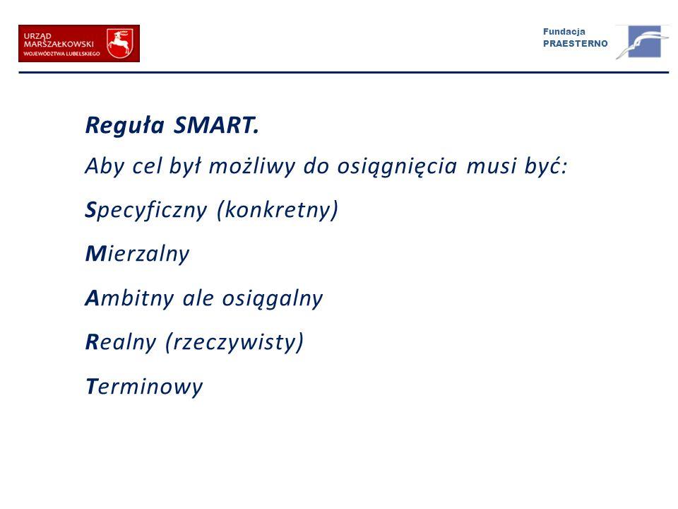 Fundacja PRAESTERNO Reguła SMART. Aby cel był możliwy do osiągnięcia musi być: Specyficzny (konkretny) Mierzalny Ambitny ale osiągalny Realny (rzeczyw