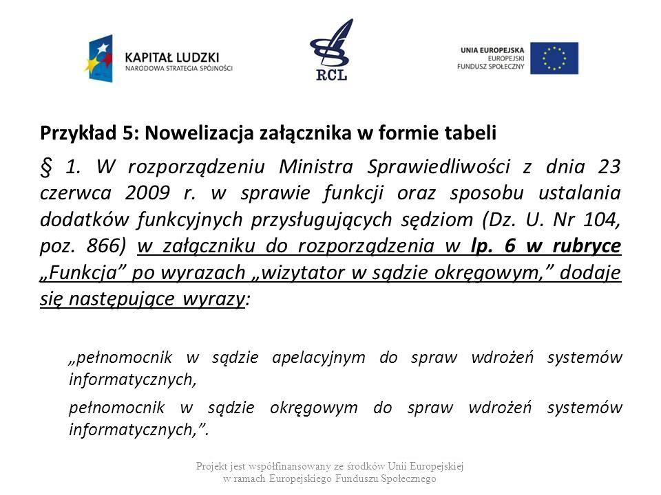 Przykład 6: Nowelizacja załącznika w formie tabeli Nowelizacja w 2010 r.