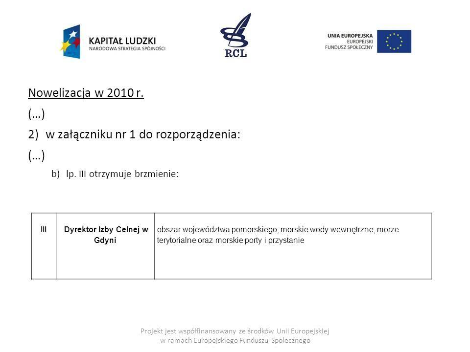 III Dyrektor Izby Celnej w Gdyni obszar województwa pomorskiego, morskie wody wewnętrzne, morze terytorialne oraz morskie porty i przystanie Projekt j