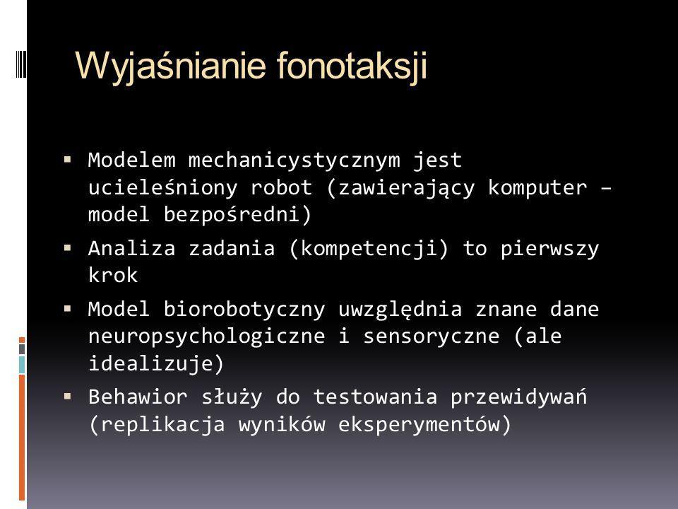 Wyjaśnianie fonotaksji Modelem mechanicystycznym jest ucieleśniony robot (zawierający komputer – model bezpośredni) Analiza zadania (kompetencji) to p