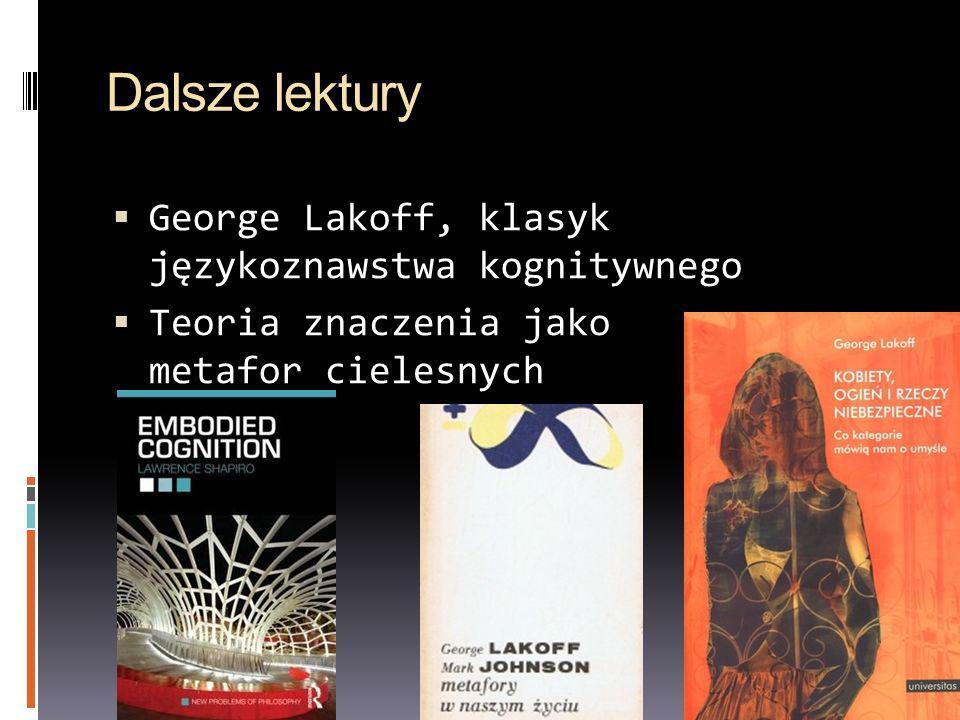 Dalsze lektury George Lakoff, klasyk językoznawstwa kognitywnego Teoria znaczenia jako metafor cielesnych