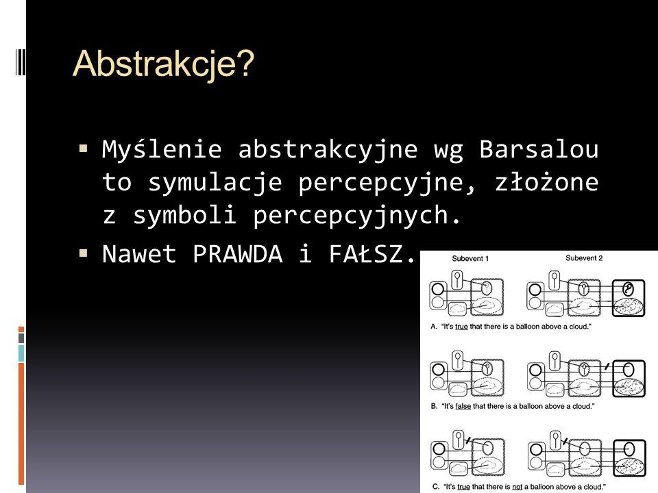 Abstrakcje? Myślenie abstrakcyjne wg Barsalou to symulacje percepcyjne, złożone z symboli percepcyjnych. Nawet PRAWDA i FAŁSZ.