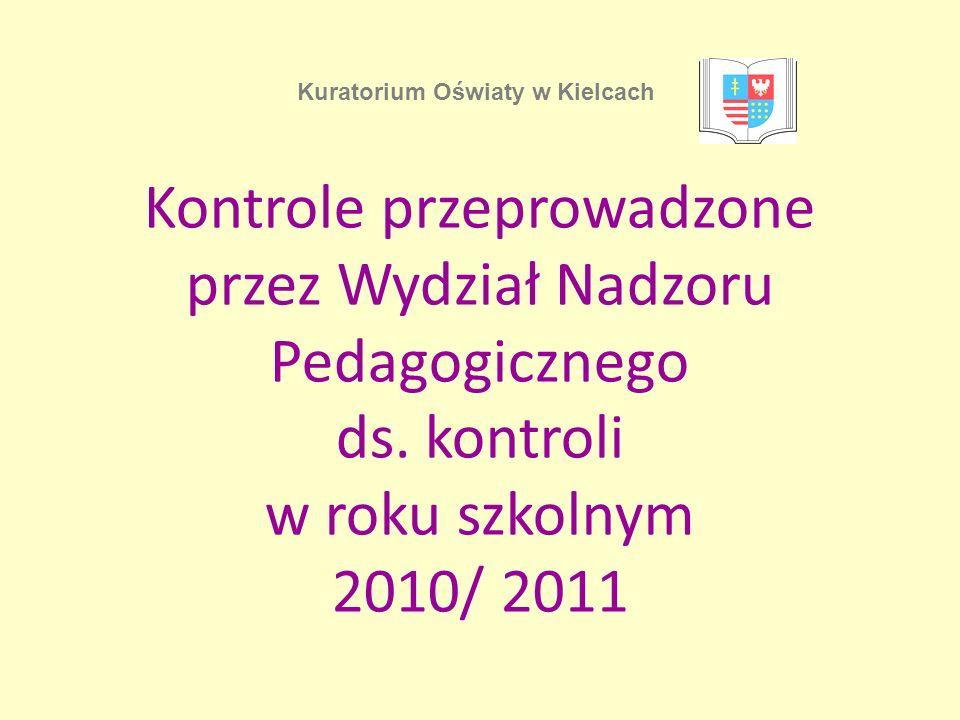 Kontrole przeprowadzone przez Wydział Nadzoru Pedagogicznego ds.