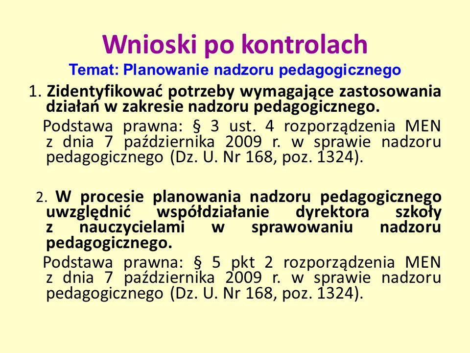 3.Opracować plan nadzoru pedagogicznego. Podstawa prawna: § 21 ust.
