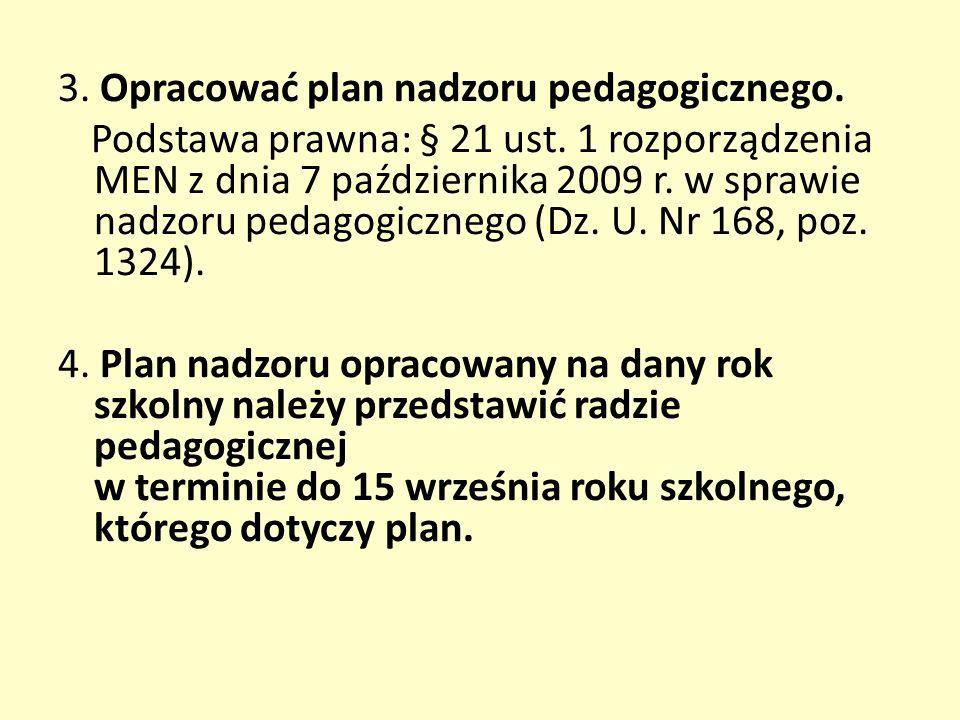 3. Opracować plan nadzoru pedagogicznego. Podstawa prawna: § 21 ust.