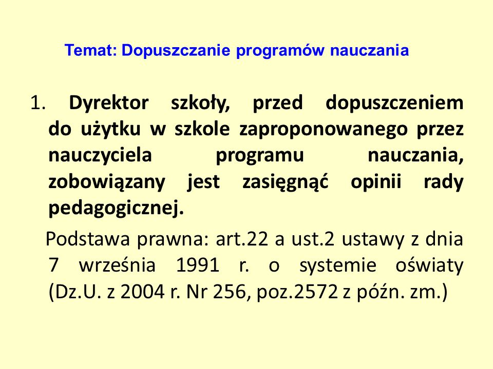 2.Opracować Szkolny zestaw programów nauczania obowiązujących w gimnazjum.