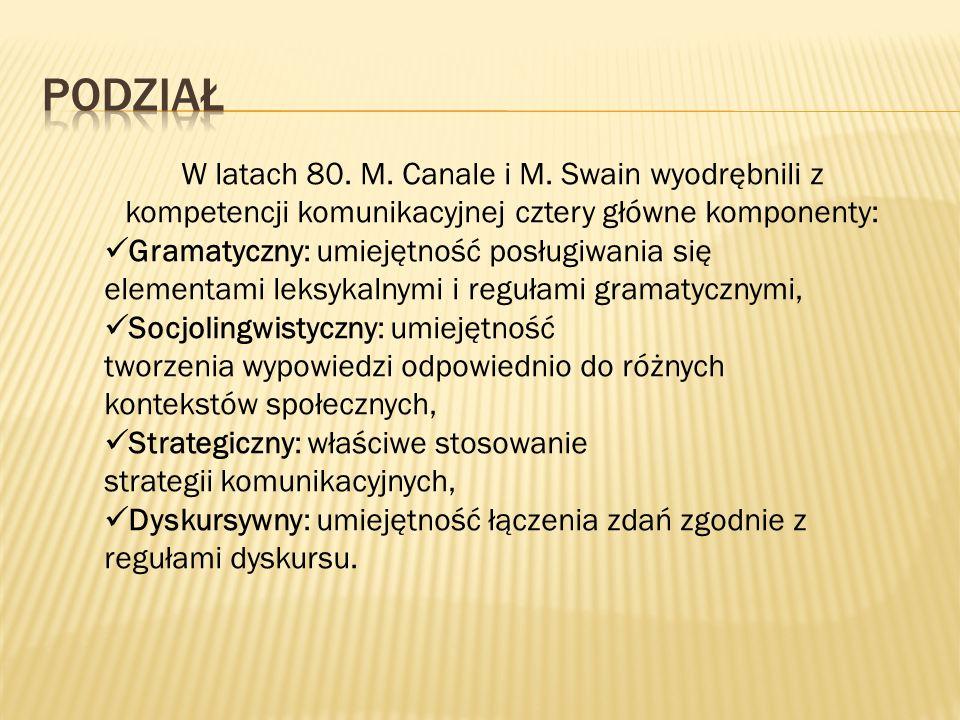 W latach 80. M. Canale i M. Swain wyodrębnili z kompetencji komunikacyjnej cztery główne komponenty: Gramatyczny: umiejętność posługiwania się element