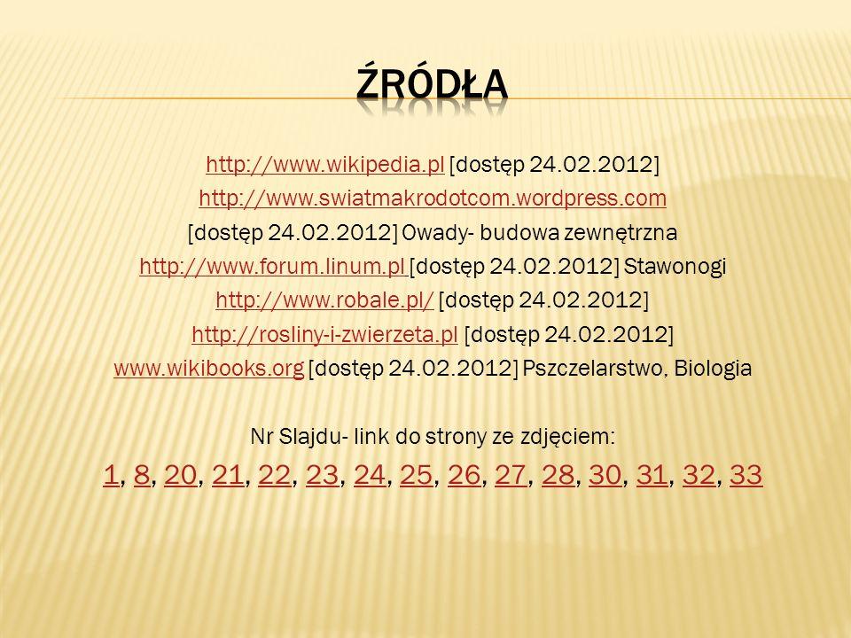 http://www.wikipedia.plhttp://www.wikipedia.pl [dostęp 24.02.2012] http://www.swiatmakrodotcom.wordpress.com [dostęp 24.02.2012] Owady- budowa zewnętr