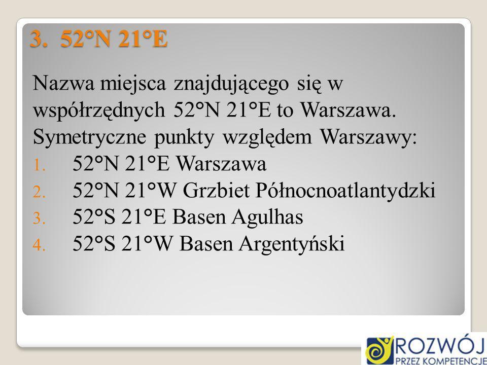 3. 52°N 21°E Nazwa miejsca znajdującego się w współrzędnych 52°N 21°E to Warszawa. Symetryczne punkty względem Warszawy: 1. 52°N 21°E Warszawa 2. 52°N