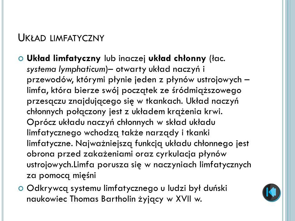 U KŁAD LIMFATYCZNY Układ limfatyczny lub inaczej układ chłonny (łac. systema lymphaticum)– otwarty układ naczyń i przewodów, którymi płynie jeden z pł