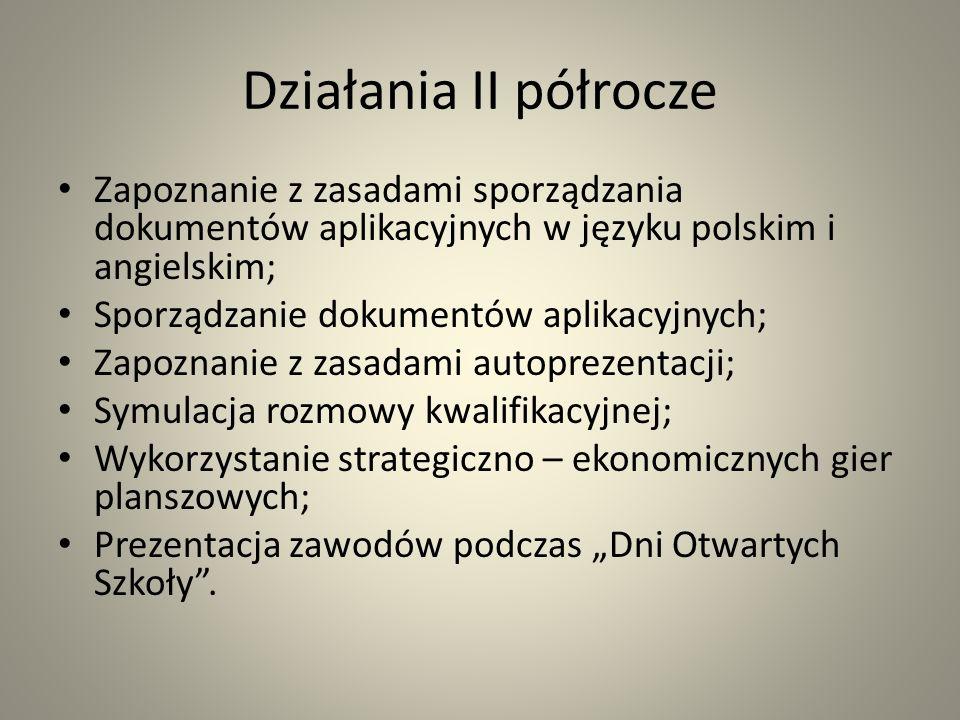 Działania II półrocze Zapoznanie z zasadami sporządzania dokumentów aplikacyjnych w języku polskim i angielskim; Sporządzanie dokumentów aplikacyjnych