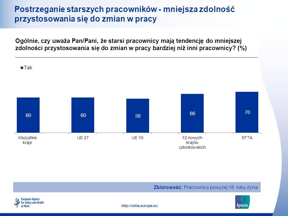 19 http://osha.europa.eu Postrzeganie starszych pracowników - mniejsza zdolność przystosowania się do zmian w pracy Ogólnie, czy uważa Pan/Pani, że st
