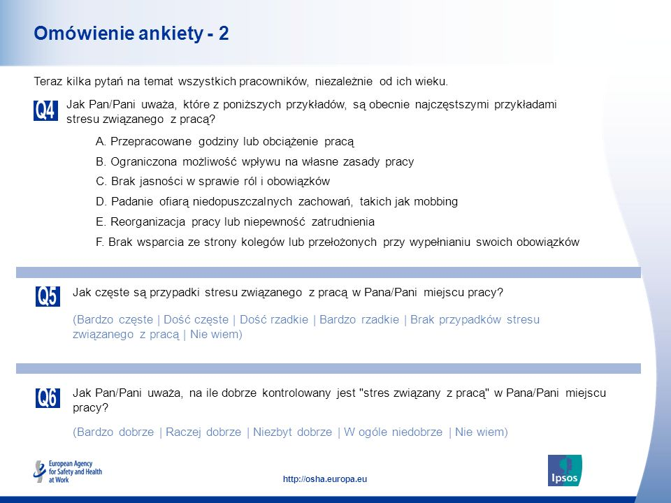 5 http://osha.europa.eu Omówienie ankiety - 2 Jak Pan/Pani uważa, które z poniższych przykładów, są obecnie najczęstszymi przykładami stresu związaneg
