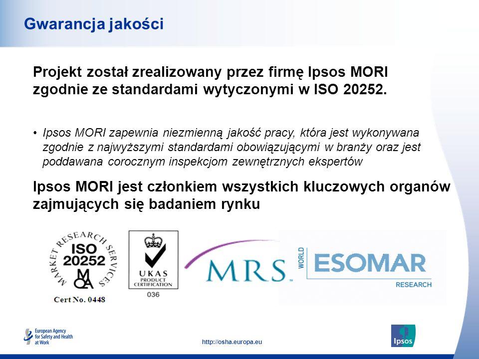 53 http://osha.europa.eu Projekt został zrealizowany przez firmę Ipsos MORI zgodnie ze standardami wytyczonymi w ISO 20252. Gwarancja jakości Ipsos MO