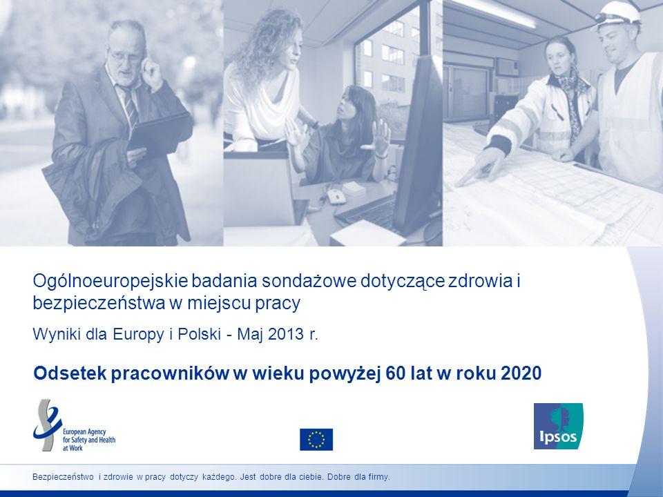 29 http://osha.europa.eu Programy i zasady ułatwiające kontynuowanie pracy do lub po osiągnięciu wieku emerytalnego (Polska) Czy uważa Pan/Pani, że w Pana/Pani miejscu pracy powinny być wprowadzone programy i zasady ułatwiające pracownikom kontynuowanie pracy do lub po osiągnięciu wieku emerytalnego, jeśli chcą to robić.