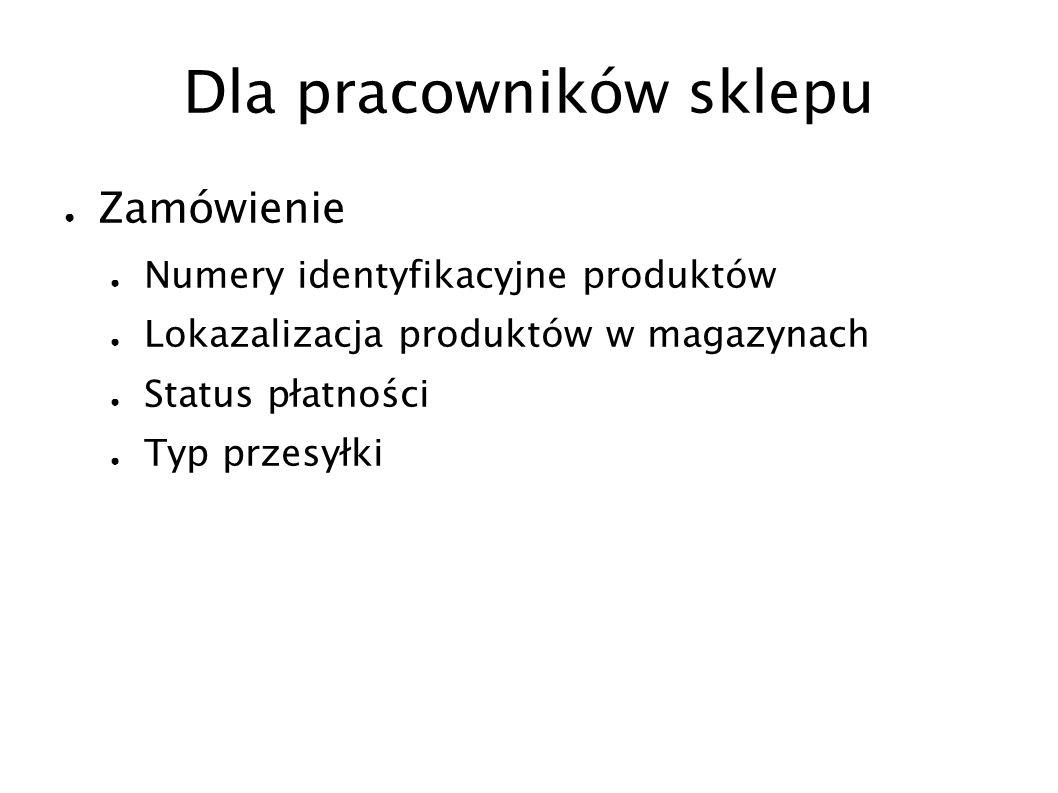 Dla pracowników sklepu Zamówienie Numery identyfikacyjne produktów Lokazalizacja produktów w magazynach Status płatności Typ przesyłki