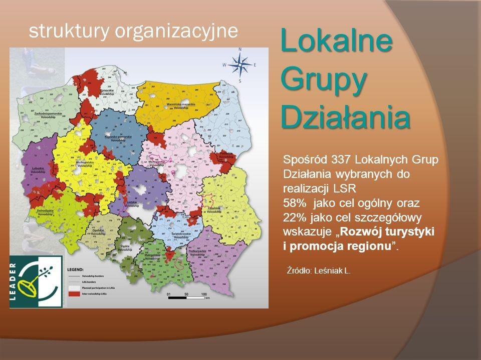 struktury organizacyjne Lokalne Grupy Działania Spośród 337 Lokalnych Grup Działania wybranych do realizacji LSR 58% jako cel ogólny oraz 22% jako cel
