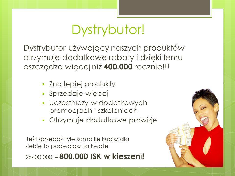 Dystrybutor! Dystrybutor używający naszych produktów otrzymuje dodatkowe rabaty i dzięki temu oszczędza więcej niż 400.000 rocznie!!! Jeśli sprzedaż t