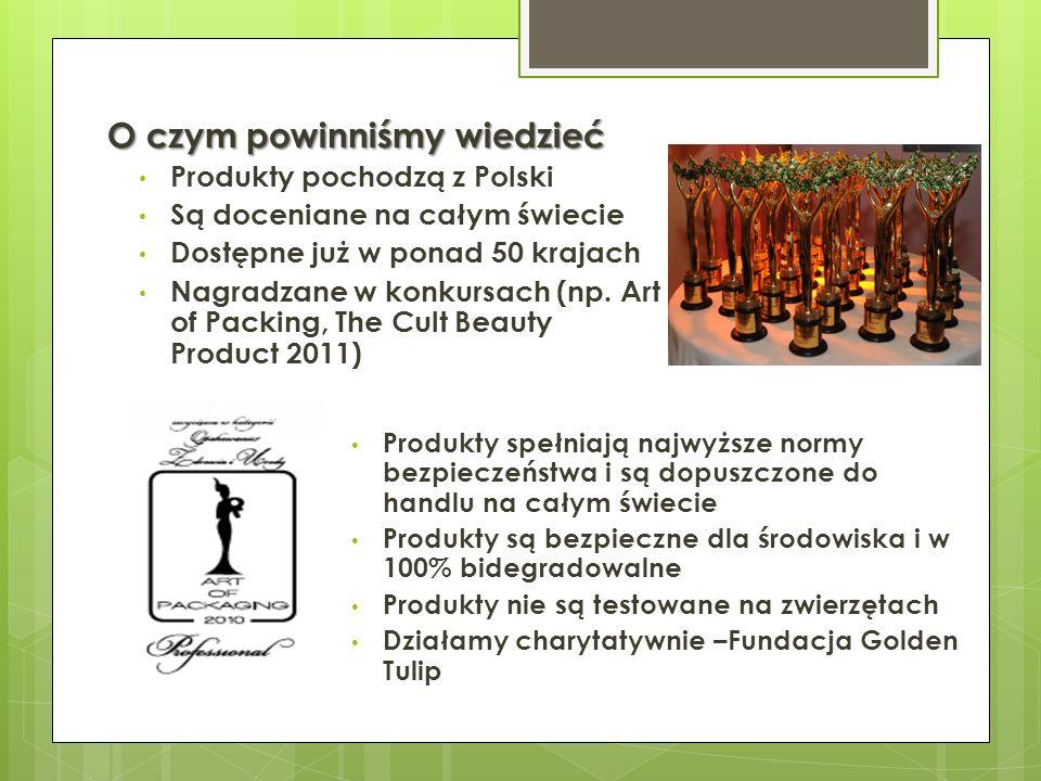 O czym powinniśmy wiedzieć Produkty pochodzą z Polski Są doceniane na całym świecie Dostępne już w ponad 50 krajach Nagradzane w konkursach (np. Art o