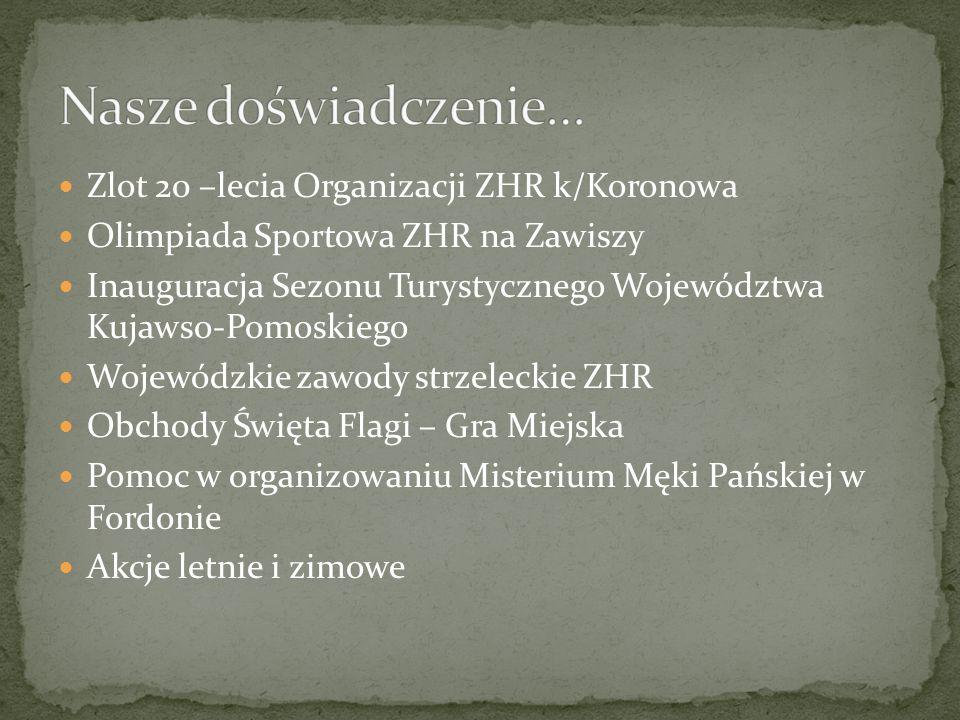 Zlot 20 –lecia Organizacji ZHR k/Koronowa Olimpiada Sportowa ZHR na Zawiszy Inauguracja Sezonu Turystycznego Województwa Kujawso-Pomoskiego Wojewódzkie zawody strzeleckie ZHR Obchody Święta Flagi – Gra Miejska Pomoc w organizowaniu Misterium Męki Pańskiej w Fordonie Akcje letnie i zimowe