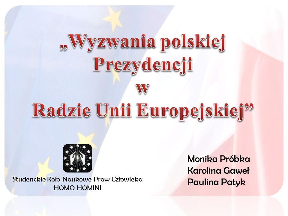 Wyzwania polskiej Prezydencji w Radzie Unii Europejskiej zapewnienie zrównoważonego rozwoju gospodarczego państw członkowskich stworzenie odpowiedniej infrastruktury zapewnienie poczucia bezpieczeństwa obywateli UE problem wolnej konkurencji w dostawie energii aspekt ochrony środowiska Kluczowe zagadnienia: Homo Homini