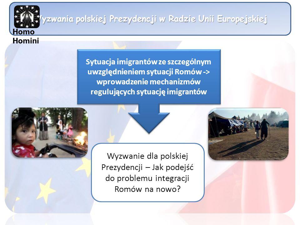 Wyzwania polskiej Prezydencji w Radzie Unii Europejskiej Sytuacja imigrantów ze szczególnym uwzględnieniem sytuacji Romów -> wprowadzenie mechanizmów