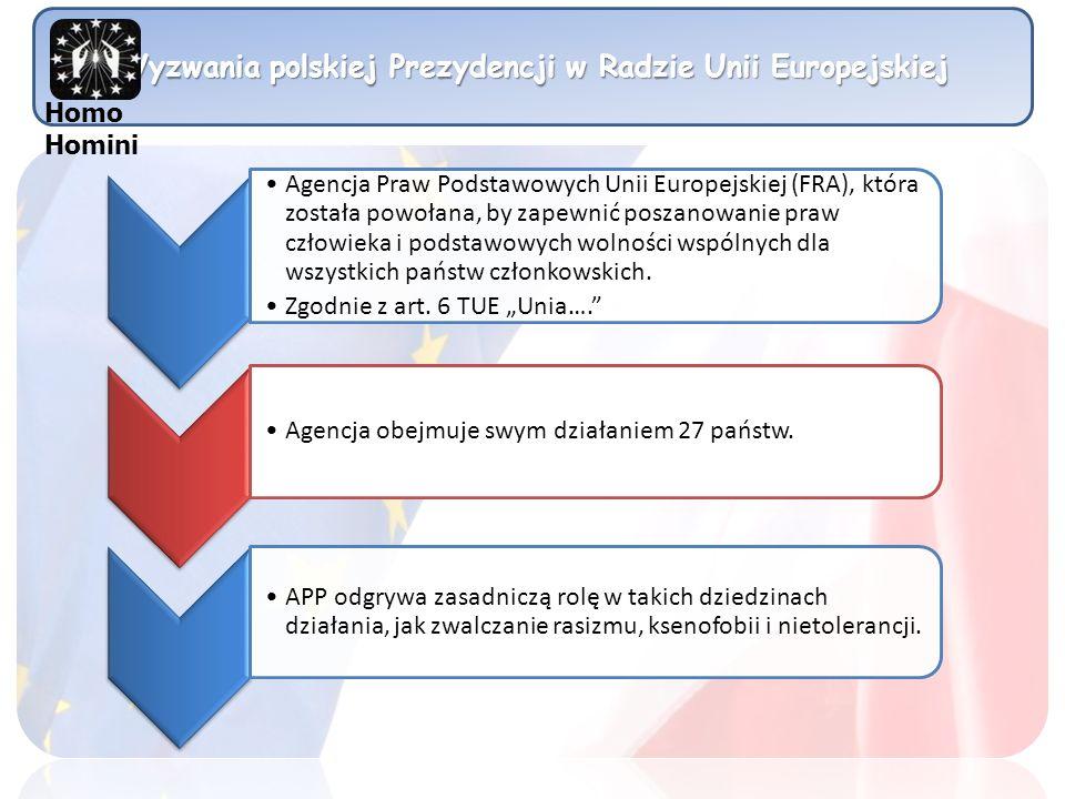 Wyzwania polskiej Prezydencji w Radzie Unii Europejskiej Agencja Praw Podstawowych Unii Europejskiej (FRA), która została powołana, by zapewnić poszan