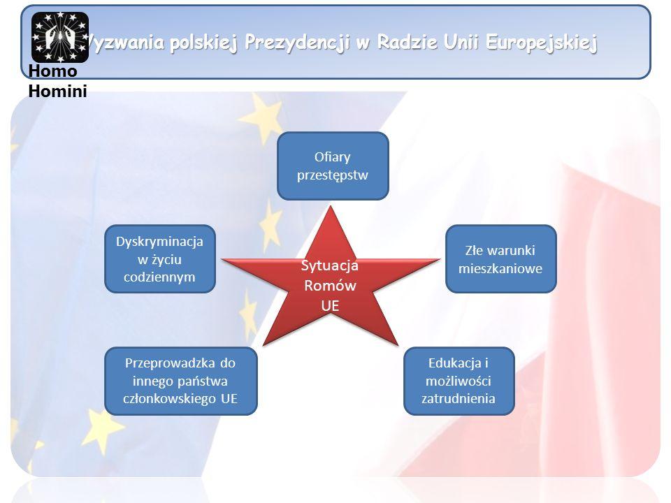 Wyzwania polskiej Prezydencji w Radzie Unii Europejskiej Sytuacja Romów UE Złe warunki mieszkaniowe Ofiary przestępstw Dyskryminacja w życiu codzienny