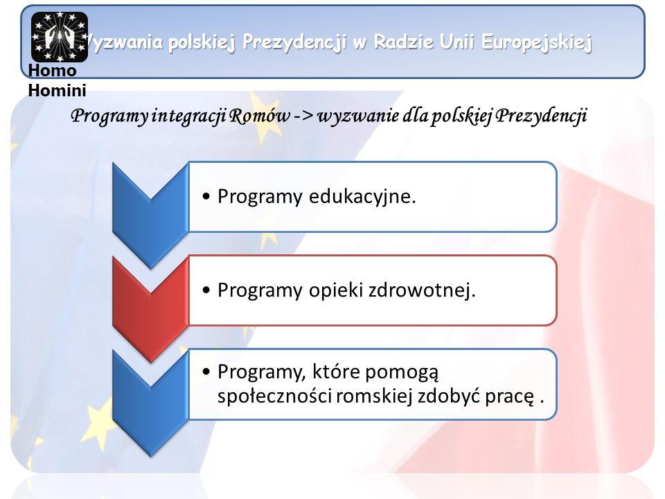 Wyzwania polskiej Prezydencji w Radzie Unii Europejskiej Programy integracji Romów -> wyzwanie dla polskiej Prezydencji Programy edukacyjne. Programy