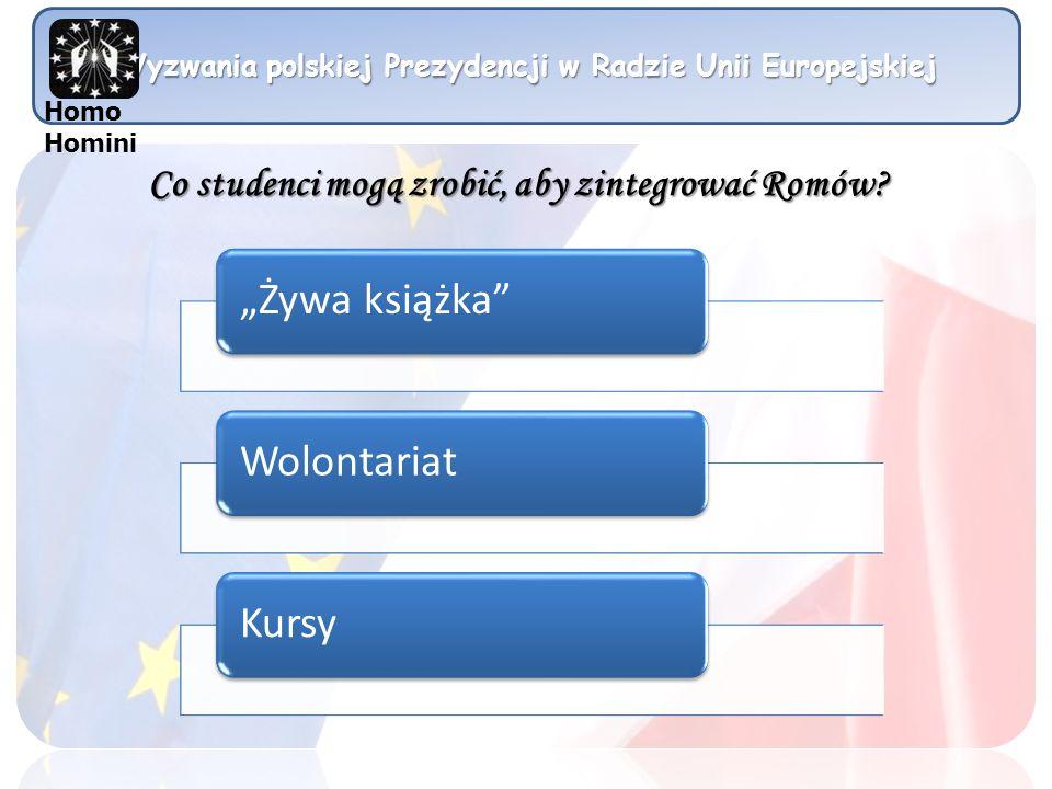 Wyzwania polskiej Prezydencji w Radzie Unii Europejskiej Homo Homini Co studenci mogą zrobić, aby zintegrować Romów? Żywa książkaWolontariatKursy