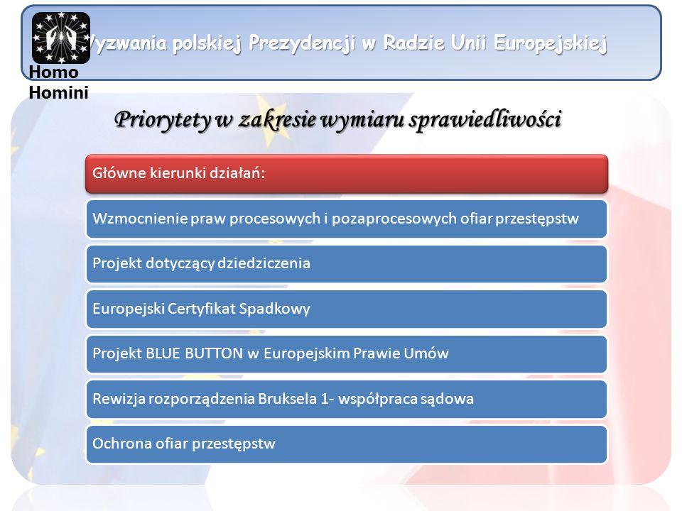 Wyzwania polskiej Prezydencji w Radzie Unii Europejskiej Główne kierunki działań:Wzmocnienie praw procesowych i pozaprocesowych ofiar przestępstwProje