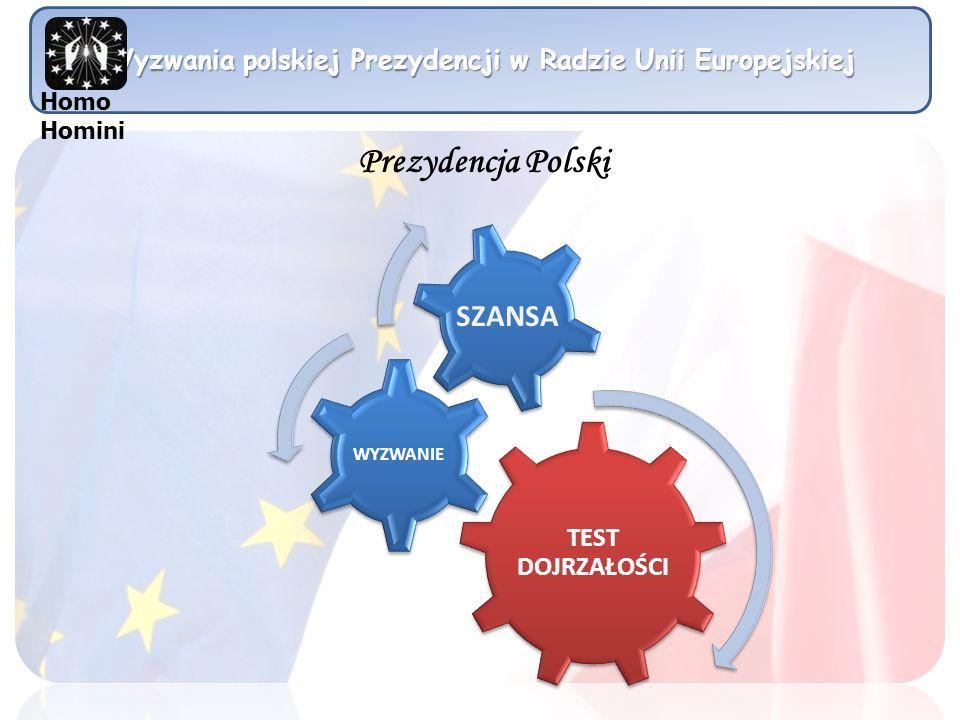 Wyzwania polskiej Prezydencji w Radzie Unii Europejskiej Główne kierunki działań:Wzmocnienie praw procesowych i pozaprocesowych ofiar przestępstwProjekt dotyczący dziedziczeniaEuropejski Certyfikat SpadkowyProjekt BLUE BUTTON w Europejskim Prawie UmówRewizja rozporządzenia Bruksela 1- współpraca sądowaOchrona ofiar przestępstw Priorytety w zakresie wymiaru sprawiedliwości Homo Homini