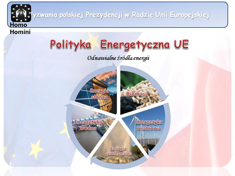 Wyzwania polskiej Prezydencji w Radzie Unii Europejskiej Homo Homini Odnawialne źródła energii