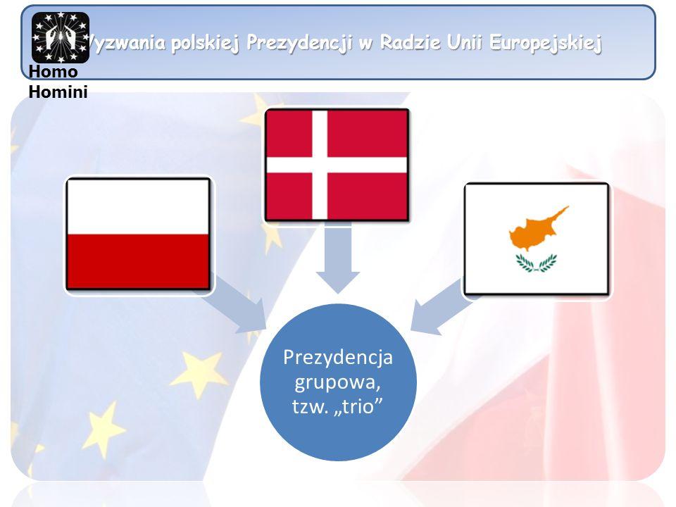 Wyzwania polskiej Prezydencji w Radzie Unii Europejskiej Prezydencja grupowa, tzw. trio Homo Homini