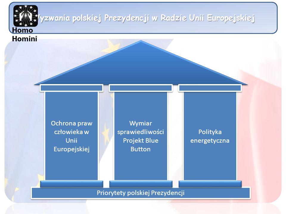 Wyzwania polskiej Prezydencji w Radzie Unii Europejskiej Wymiar sprawiedliwości Projekt Blue Button Wymiar sprawiedliwości Projekt Blue Button Polityka energetyczna Priorytety polskiej Prezydencji Homo Homini Ochrona praw człowieka w Unii Europejskiej